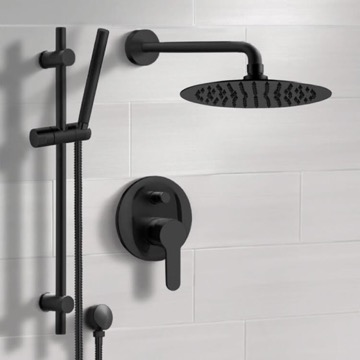 Matte Black Shower System With Rain Shower Head and Hand Shower