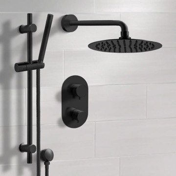 Matte Black Thermostatic Shower System with Rain Shower Head and Hand Shower