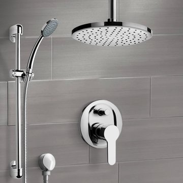Chrome Shower Set with Rain Ceiling Shower Head and Hand Shower