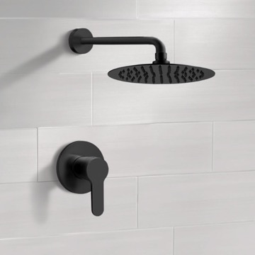 Matte Black Shower Faucet Set with Rain Shower Head