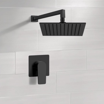 Matte Black Shower Faucet with Rain Shower Head
