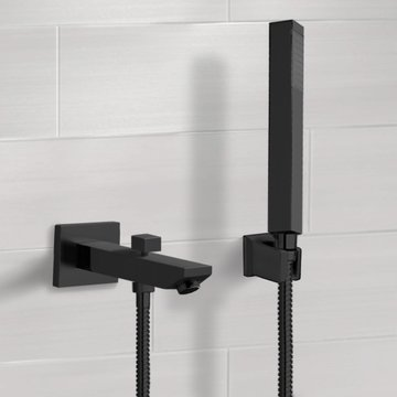 Matte Black Wall Mounted Tub Spout Set with Hand Shower