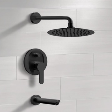 Matte Black Tub and Shower Faucet Set With Rain Shower Head
