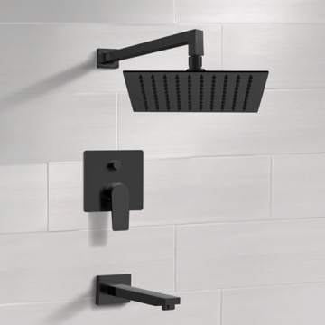 Matte Black Tub and Shower Set With Rain Shower Head