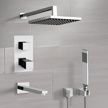 Chrome Thermostatic Tub and Shower Faucet Set with Rain Shower Head and Hand Shower