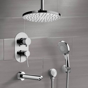 Chrome Tub and Shower Set with Ceiling Rain Shower Head and Hand Shower