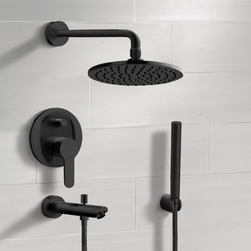 Matte Black Tub and Shower Faucet With 8