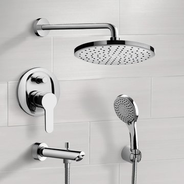 Chrome Tub and Shower Faucet With Rain Shower Head and Hand Shower