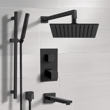 Matte Black Thermostatic Tub and Shower Faucet with Rain Shower Head and Hand Shower