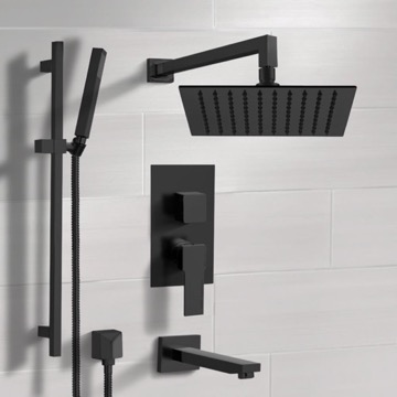 Matte Black Tub and Shower Faucet with Rain Shower Head and Hand Shower