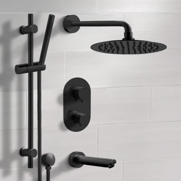 Matte Black Thermostatic Tub and Shower Faucet Set with Rain Shower Head and Hand Shower