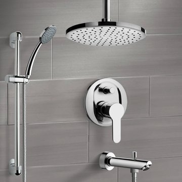 Chrome Tub and Shower Faucet Set with Rain Ceiling Shower Head and Hand Shower