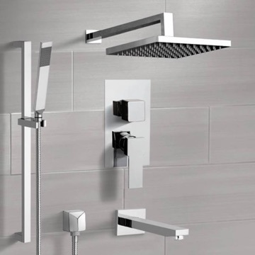 Chrome Tub and Shower System with Rain Shower Head and Hand Shower