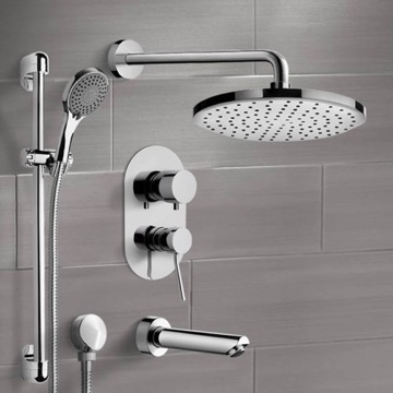 Chrome Tub and Shower Set with Rain Shower Head and Hand Shower