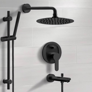 Matte Black Tub and Shower Faucet Set with Rain Shower Head and Hand Shower