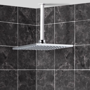 Shower Head, Contemporary, Chrome, Brass,Stainless Steel, Remer Enzo, Remer 347S-US-RK200