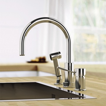 Chrome Widespread Kitchen Faucet with Pull-Out Spray