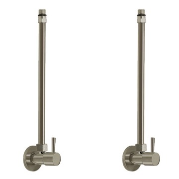 Satin Nickel Pair Of Angle Valves With Bendable Copper Pipe