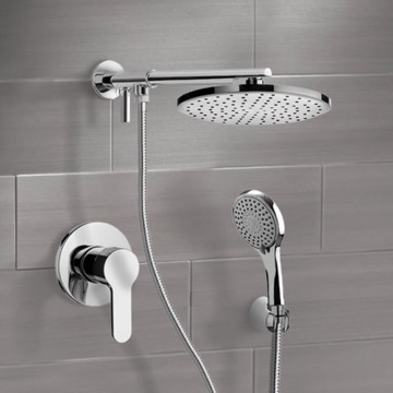Chrome Shower System With Rain Shower Head and Hand Shower