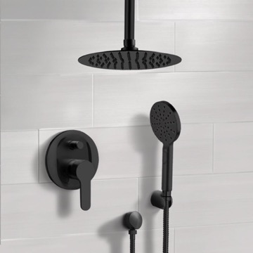 Matte Black Ceiling Shower Set with Rain Shower Head and Hand Shower