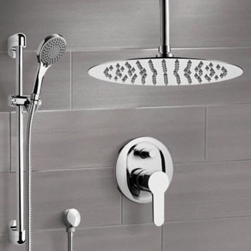 Chrome Ceiling Shower Set With 16