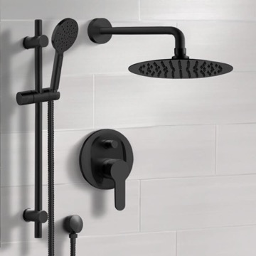 Matte Black Shower Set With Rain Shower Head and Hand Shower