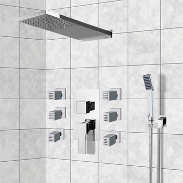 Chrome Shower System with Rain Shower Head, Hand Shower, and Body Sprays