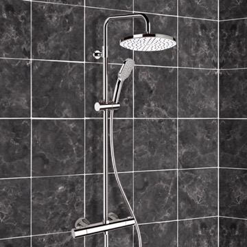 Chrome Thermostatic Exposed Pipe Shower System with 10