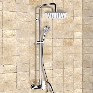 Chrome Exposed Pipe Shower System with 10