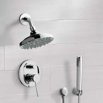 Chrome Shower System with 6