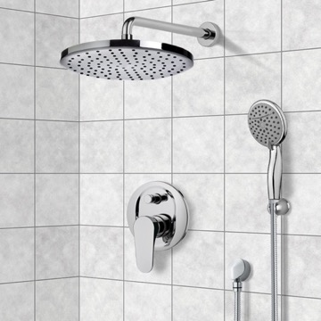Chrome Shower System with Adjustable Shower Head and Hand Shower