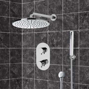 Chrome Thermostatic Shower System with 12