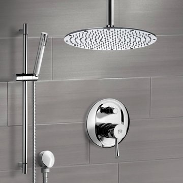 Chrome Shower System with Ceiling Shower Head and Hand Shower