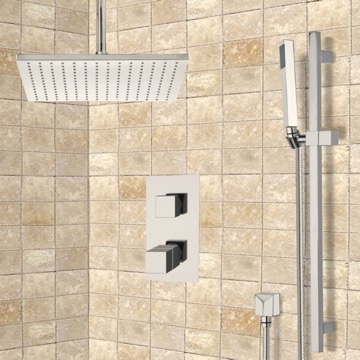 Satin Nickel Thermostatic Shower System with Ceiling 12