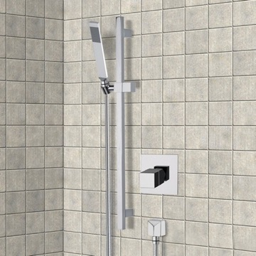 Chrome Thermostatic Slidebar Shower Set With Hand Shower