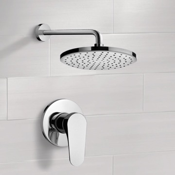 Chrome Shower Faucet Set with 8
