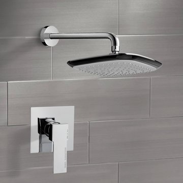 Chrome Shower Faucet Set with 10