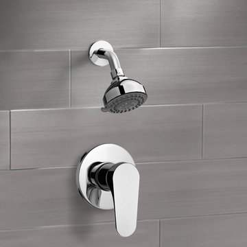 Chrome Shower Faucet Set with 3