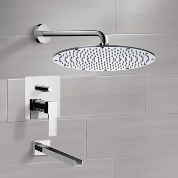 Chrome Tub and Shower Faucet Sets with 14
