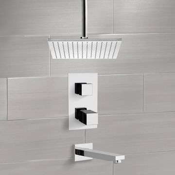 Thermostatic Tub and Shower Faucet Sets with Ceiling 12