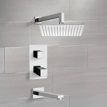 Thermostatic Tub and Shower Faucet Sets with 12