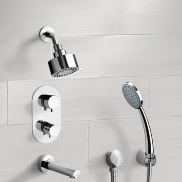 Chrome Thermostatic Tub and Shower System with Multi Function Shower Head and Hand Shower