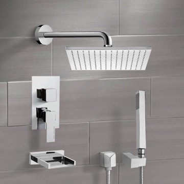 Chrome Tub and Shower System with 12