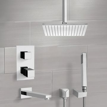 Chrome Thermostatic Tub and Shower System with Ceiling 12