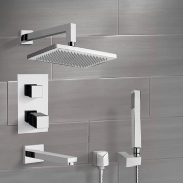 Chrome Thermostatic Tub and Shower System with 9.5