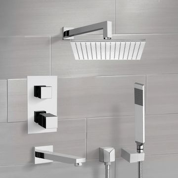 Chrome Thermostatic Tub and Shower System with 12