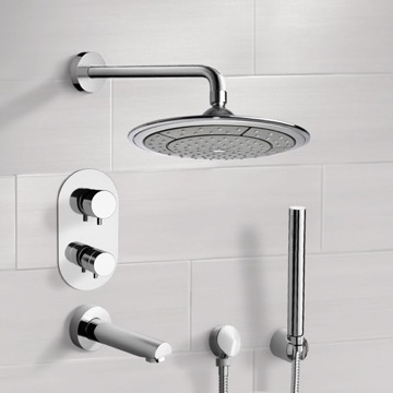 Chrome Thermostatic Tub and Shower System with 9