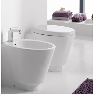 Contemporary Round White Ceramic Floor Toilet