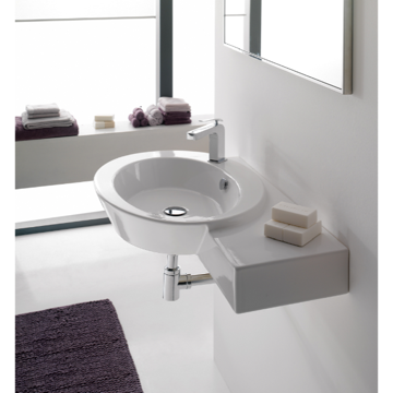 Ceramic Wall Mounted or Vessel Bathroom Sink with Right Counter Space