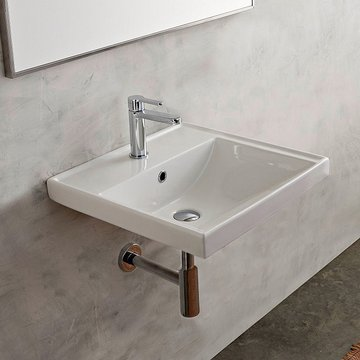 Rectangular White Ceramic Wall Mounted or Drop In Bathroom Sink